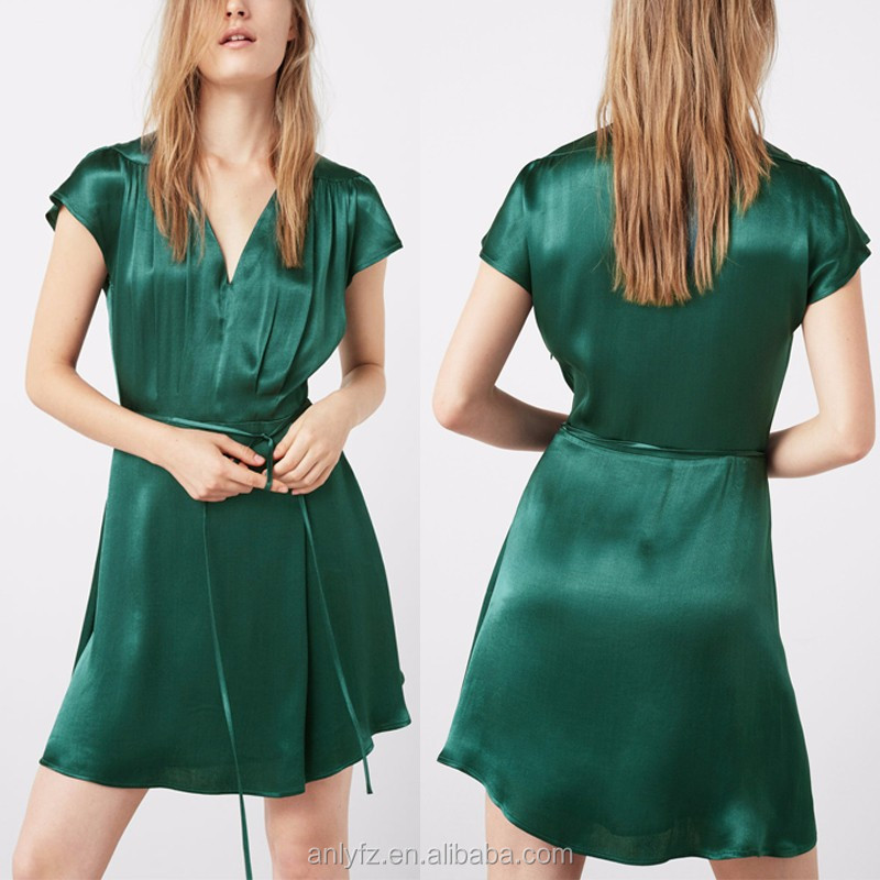 2017 Anly fashion wholesale flowy satin fabric removable belt flared bottom dress women