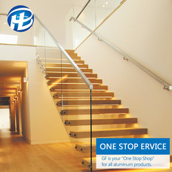 best composite glass stair railing Outdoor Metal Banister Glass Handrail Stair Stainless Steel Banister