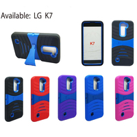 T Stand Armor Case For LG K7,Kickstand Case Silicone+PC Bakc Cover Case For LG K7