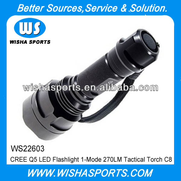 CREE Q5 LED Flashlight 1-Mode 270LM Tactical Torch C8