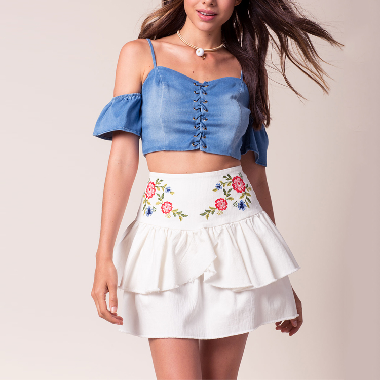 New Fashion Ladies Embroidered Mini Ruffle Tennis Skirt