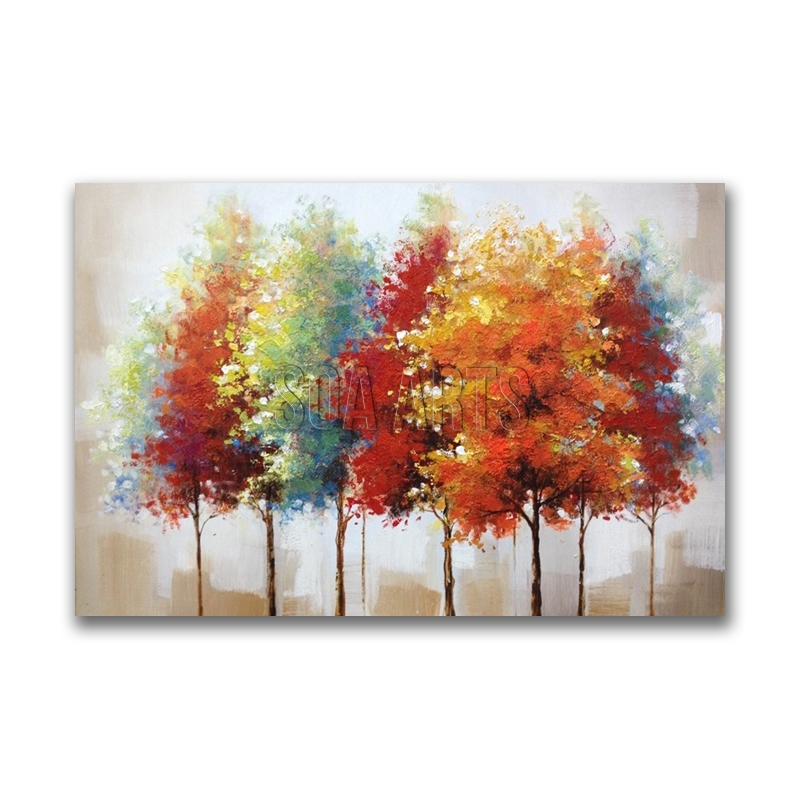 Handmade Colorful Trees Abstract Oil Painting For Living Room Decor