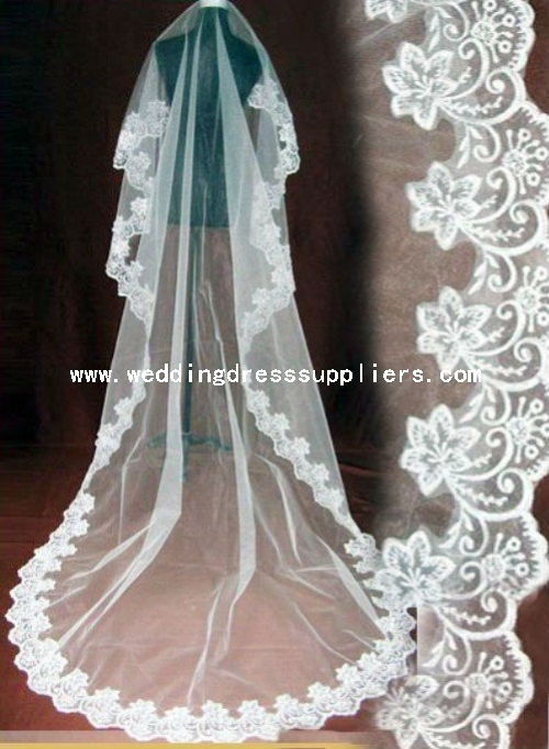 LY1622 2016 Hot Sale Long Lace Wedding Dresses Bridal Veil
