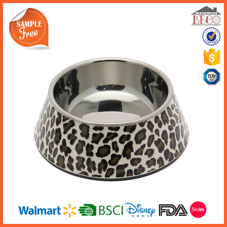Leopard Decal Plastic Melamine Dog Food Bowl With Stainless Steel