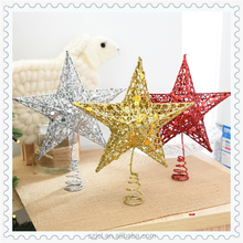 New Arrivals ChristmasTree Decoration Iron Metal Christmas Star Top Glitter Christmas Tree Topper With Multi Size