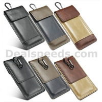 L Size PU Leather Pouch Mobile Package Bag Belt Clip For iPhone 5S/Other Smart Phones-Army Green