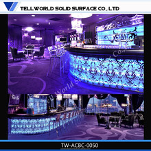 Artificial Stone Solid Surface bar counter for nightclub,timber logs bar counter,nightclub lounge furniture