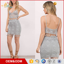 Hot sale Fashional new design lace perspective Backless Tassel Hollow-out Mini Crop top skirt suits