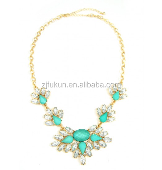 Mint Feather Crystal Burst Opal Gems Bridal Golden Necklace Geometric Silhouettes Statement Necklace Jewelry
