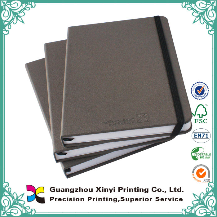 A5 PU embossing offet paper hardcover binding blank thick recycled leather notebook with bookmark