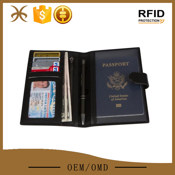 Large capacity custom brand leather travel document wallet