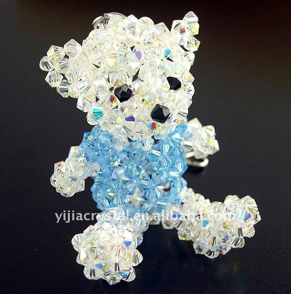 high quality cheap bear shape glas crystal car pendant bulk