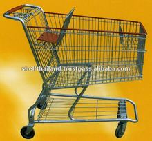 Zinc Plated Folding Steel Supermarket Shopping Trolley