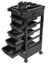 five drawer PP material good qulity rolling black and red color Salon Trolley