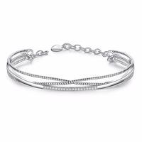 Elegant Hand Chain Charm Bracelet Women's Jewelry White Gold Plated Bling Bead Bangle Bracelet