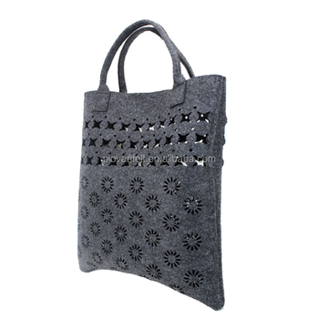 New Design Felt Bag Women Shoulder Bags Large Handy Hollow Out Flower Shopping Handbag For Gift