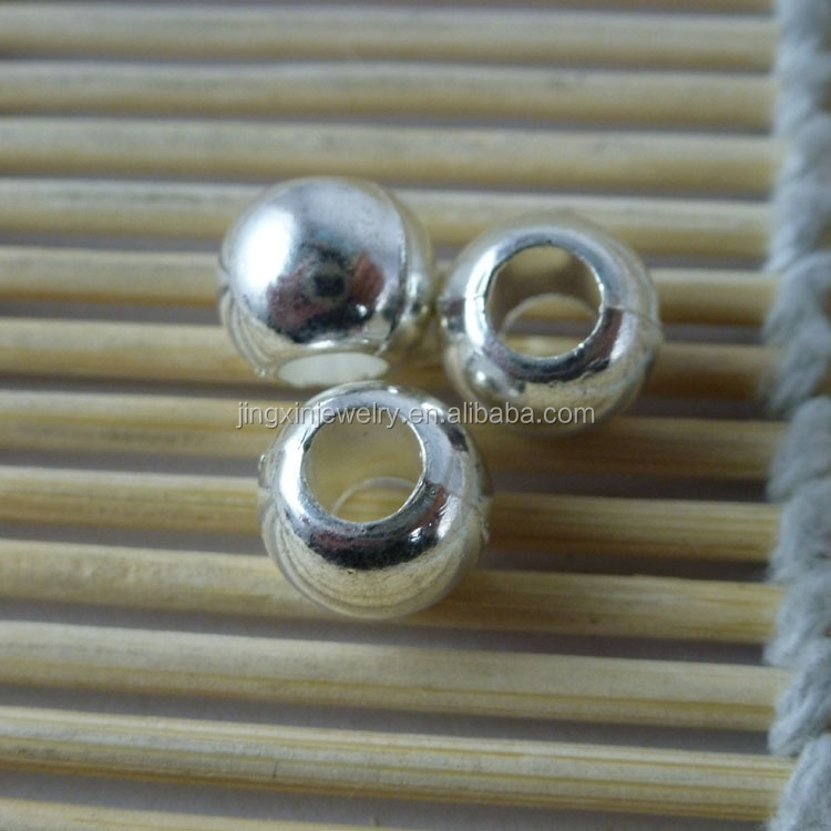 Wholesale Silver 10mm Round Metal Beads with 5mm Hole