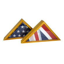 Custom shaped handmade wooden triangle shaped box wooden US flag display case