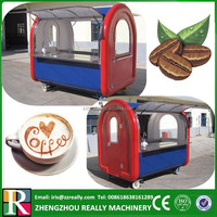 Mobile red & blue color outdoor retail coffee kiosk design