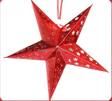 red color paper made Christmas decoration paper star lantern wholesale