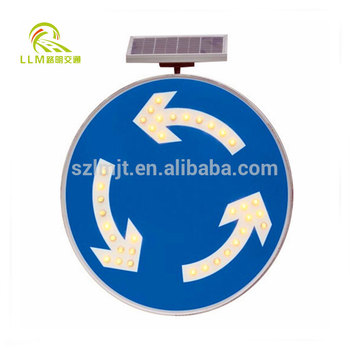 Factory outlet solar island circle warning sign LED solar traffic safety sign board