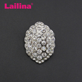 Zinc Alloy Crystal Rhinstone Oval Brooch Pin with silver plating