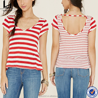 Clothing manufacturers custom V neck bulk red white striped t-shirts
