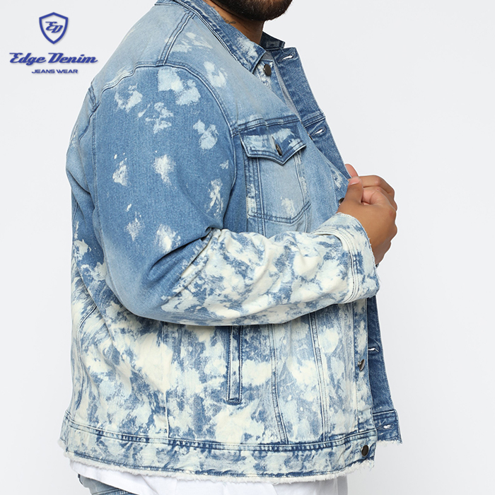 Factory supply wholesale custom turn-down collar printed denim jacket