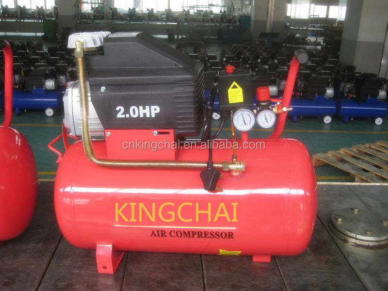 KINGCHAI 25L 50L Portable Piston type Direct air compressor with Power 2HP/1.5kw