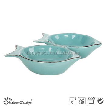 Small ceramic fish shape sauce bowls buy unique fish for Fish shaped bowl