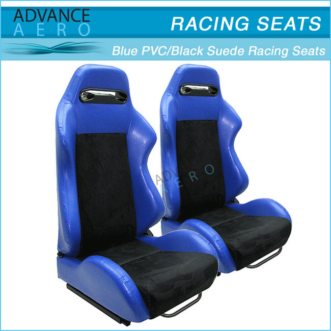 FOR NISSAN WHOLESALE RECLINER 2 TONE BLUE PVC / BLACK SUEDE AUTO SPORT SEATS RECLINABLE SLIDER(PAIR)