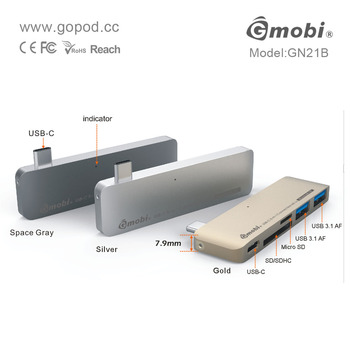 Gmobi USB-C 5-in-1 Connection Kit Hub Card Reader Adapter Made for New MacBook 12'' - GN21B