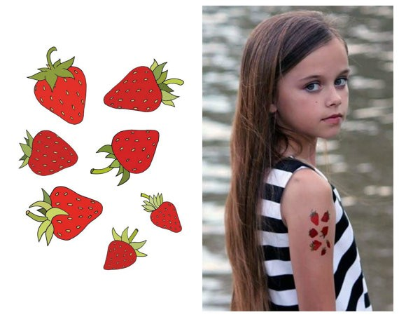 Strawberries juicy strawberries Yummy fruit kids temporary tattoos with cute kitty bat superhero childhood kid fake tattoo