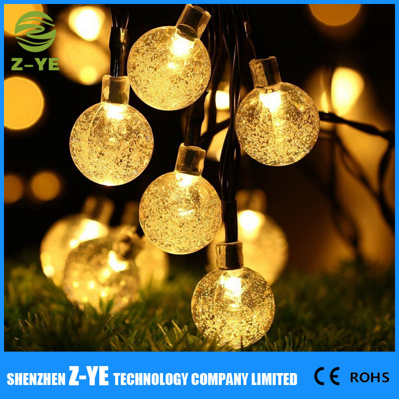 Globe Outdoor Solar String Lights 20ft 30 LED Fairy Bubble Crystal Ball Holiday Party Decoration Lights