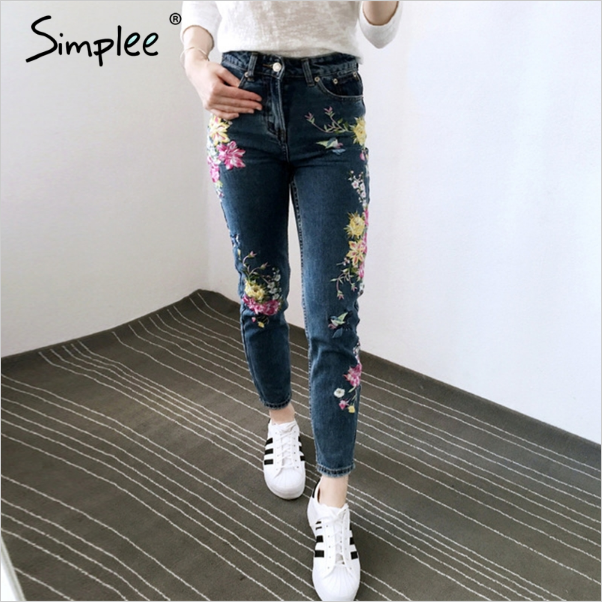 Simplee High Waist Zipper Straight Flower Embroidered Women's Jeans 2017 Denim Pants with Pocket