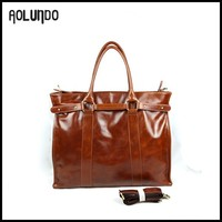 Fashion top genuine leather large large zippered tote bag