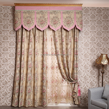 European style polyester jacquard fabric drapery Valance Luxury curtain for Hotel