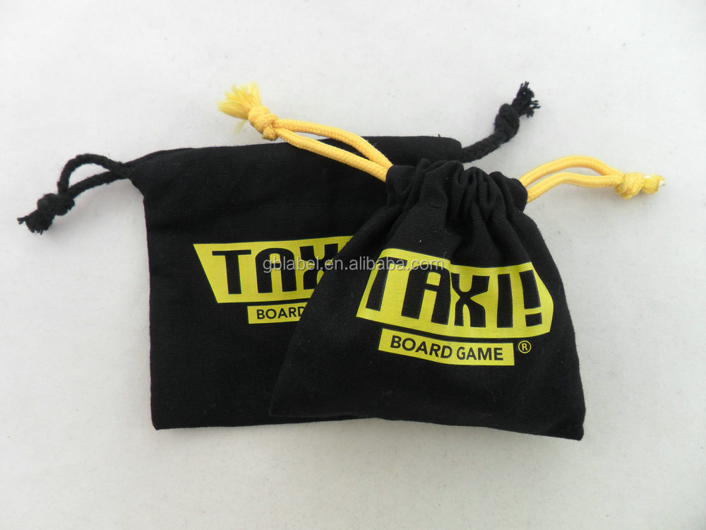 wholesale fabric black cotton drawstring bag