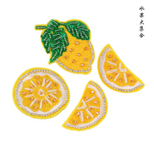 custom embroidered patches handmade beaded rhinestone fruits embroidery patch DIY stockings hats appliques