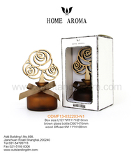Glass Aroma Diffuser With Wooden Flower And Packaging ,Oil Fragrance