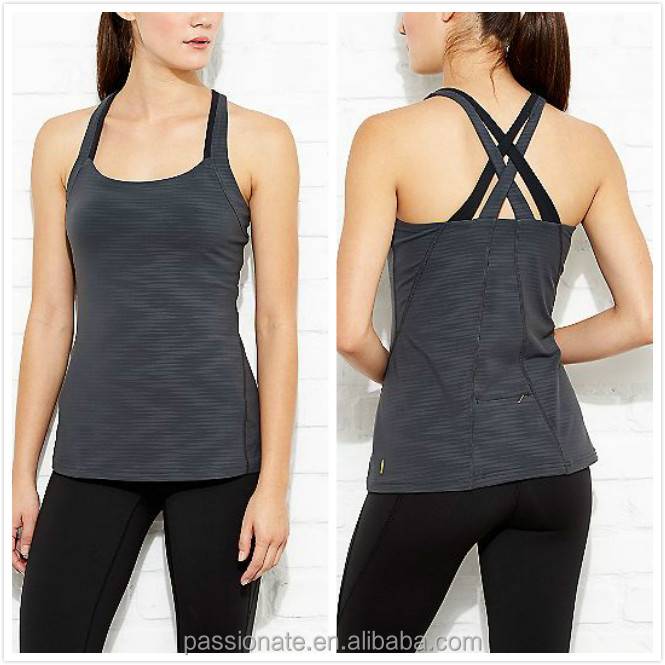 Grey stripes quick dry nylon spandex activewear women tank top wholesale
