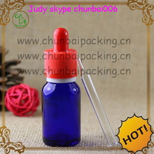 blue dropper bottle 15ml for e liquid with red cap and white circle