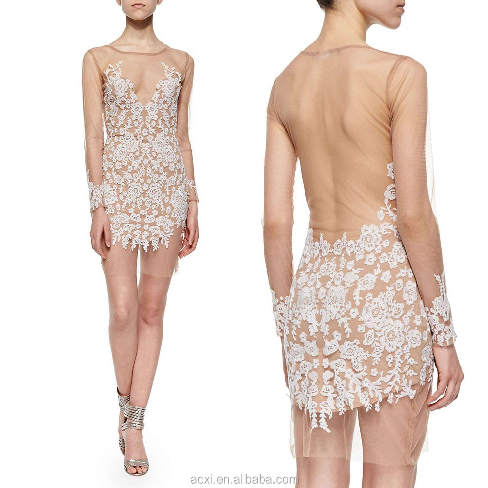 OEM custom China factory hot summer Nude transparent lace mini mesh sexy evening dresses