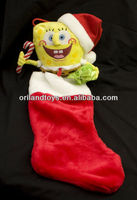 SPONGEBOB SQUAREPANTS CHRISTMAS STOCKING PLUSH STUFFED ANIMAL CARTOON TOY