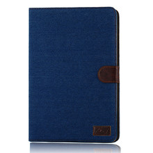 New Arrival 3 Colors Jeans Leather Stand Wallet Case For Apple iPad 5 ipad Air With Card Holders