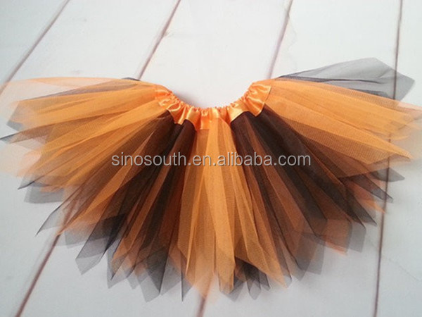 2014 kids halloween orange black costumes tutu skirt for kids