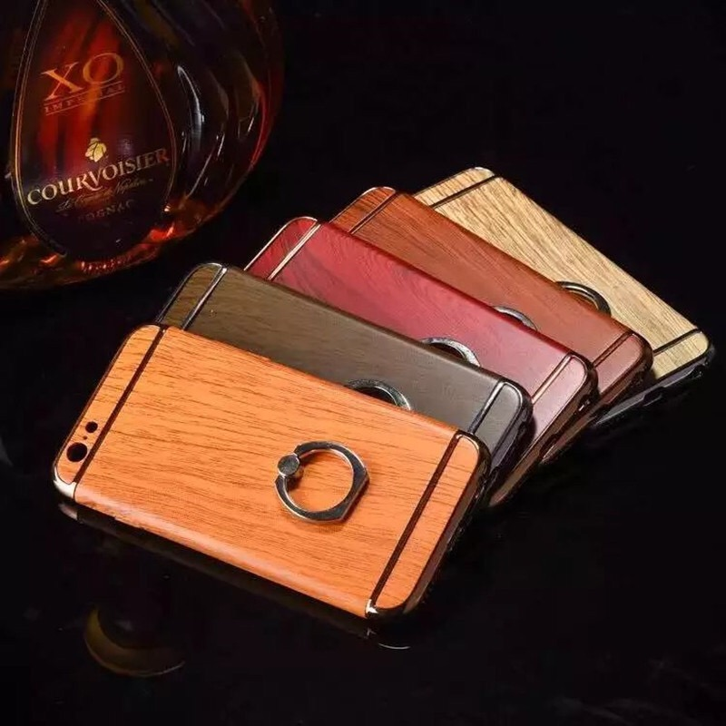 For iphone7 7 plus electronlating holder wood mobile phone case