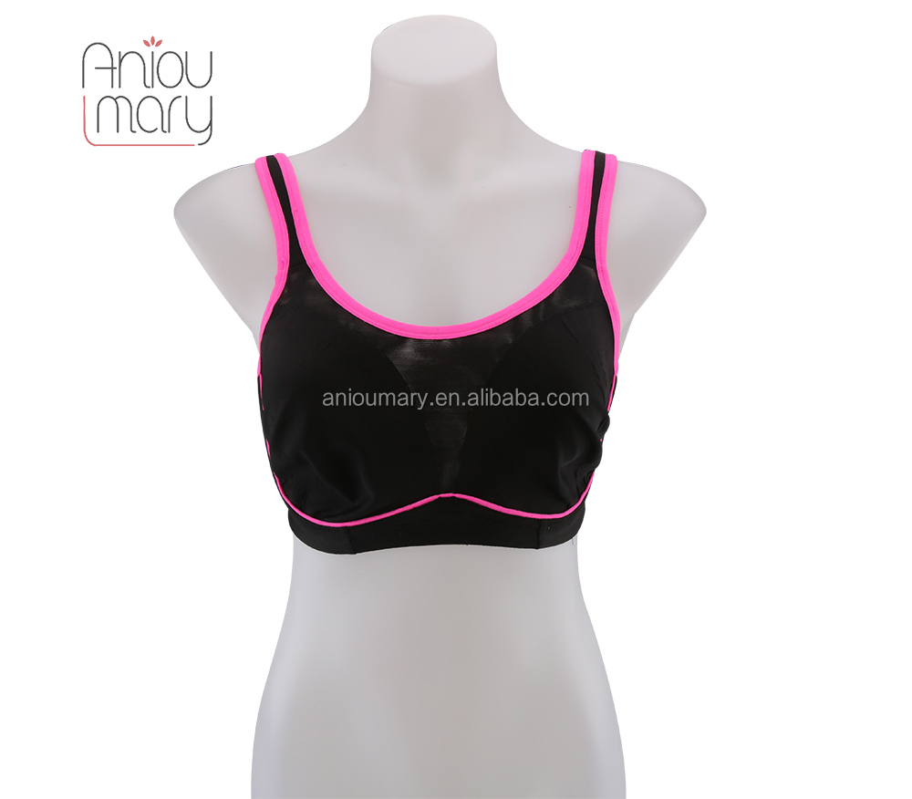 Hot comfortable breathable spandex no padded cup sport girl bra