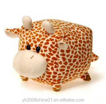 Customized plush ball shape animals stuffed giraffe toy with sound