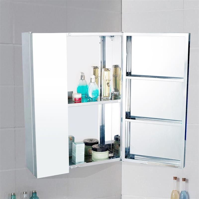 Stainless Steel Bathroom Mirror Cabinet, Double Doors